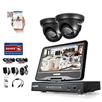 SANNCE 4 Channel 720P DVR Security Camera System with Build-in 10.1 LCD Monitor and (2) 1.0MP 1280TVL Weatherproof Outdoor CCTV Dome Cameras, Support P2P Technology and Remote Access (NO HDD)