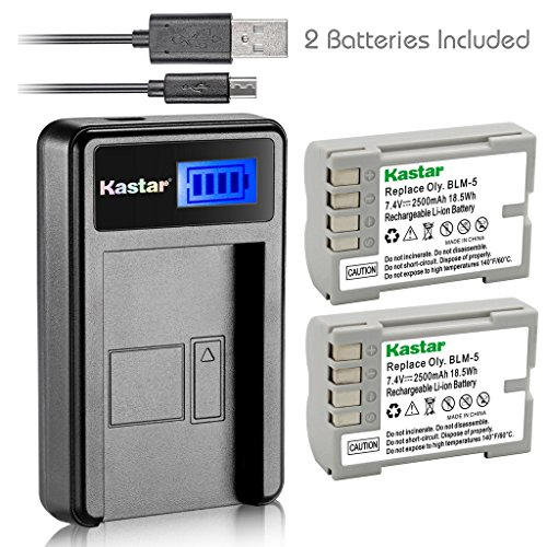 Kastar Battery (X2) & LCD Slim USB Charger for Olympus BLM-5, PS-BLM5 and Olympus C-8080, C-7070, C-5060, E1, E3, E5, E300, E330, E500, E510, E520 Digital Camera