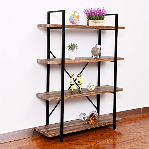 Furniture Quality Wood Shelf - IRONCK Bookshelf and Bookcase 4-Tier, 130lbs/shelf Load Capacity, Industrial Bookshelves Storage Display Shelves, Home Office Furniture, Wood and Metal Frame
