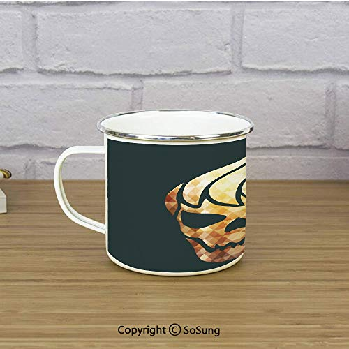 Modern Enamel Camping Mug Travel Cup,Gothic Skull with Fractal Effects in Fire Evil Halloween Concept,11 oz Practical Cup for Kitchen, Campfire, Home, TravelYellow Light Caramel Dark Grey