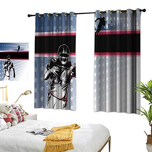 Lightly Blue Curtains Americana Decor,Baseball American Football Player Running in The Field with Stars Pattern,Multicolor 63
