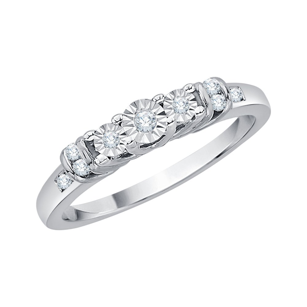 Three Stone Plus Diamond Ring in Sterling Silver (1/10 cttw) (I-Color, SI3/I1-Clarity) (Size-5.75)
