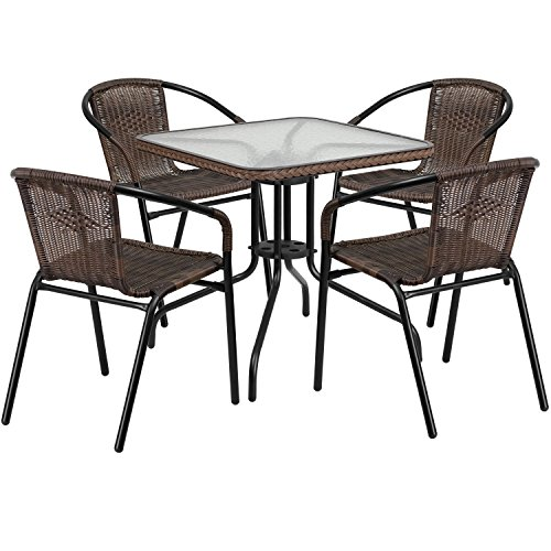 Flash Furniture 28'' Square Glass Metal Table with Dark Brown Rattan Edging and 4 Dark Brown Rattan Stack Chairs ()