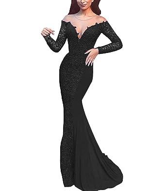 ecec1f0e25c2 HelloLadyBridal Women s Lace Mermaid Prom Dresses Long Sleeve Illusion Back Evening  Formal Gowns Black 2