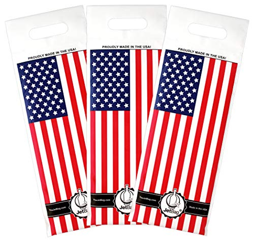 Jet Bag USA FLAG - The Original ABSORBENT Reusable & Protective Bottle Bags - SET OF 3 - MADE IN THE USA (Best Wine Brands In Usa)