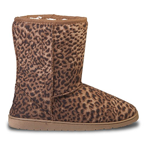 Review DAWGS Womens 9 inch Faux Shearling Microfiber Vegan Boots (Leopard Print, Size 11)