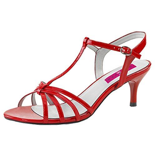 Heels-Perfect T-Strap Sandalette, Damen, Rot (Rot) Rot (Rot)