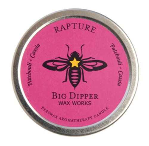 Long-lasting Hand-cast 100% Pure Beeswax Candle, 1.7 oz. Aromatherapy Tin - Rapture (Patchouli-Cassia)