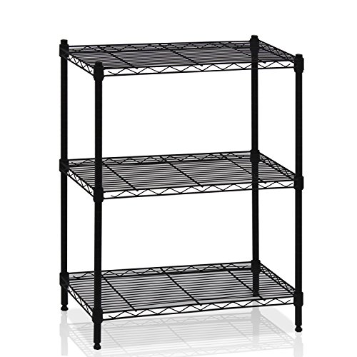 Furinno WS15002 Wayar Heavy Duty Wire Shelving System, 3-Tier, Black -