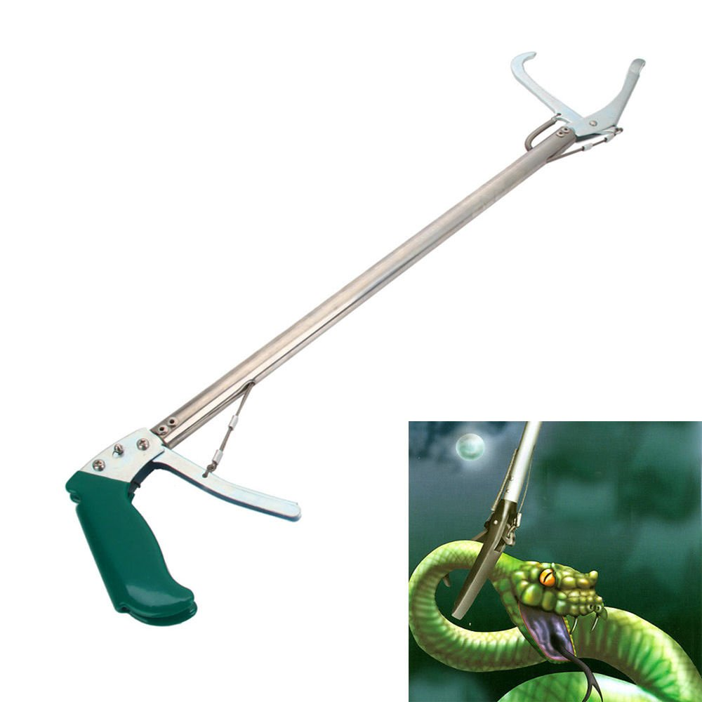 Rainrain27 Stainless Steel Snake Catcher Collapsible Professional Snake Tongs Rattlesnake Grabber Wide Jaw Pick Up Handing Tool