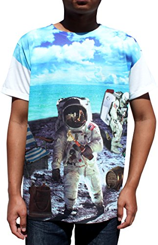 Full Funk Silky Summer T-Shirt Man On The Moon Astronaut Space Shuttle, Small
