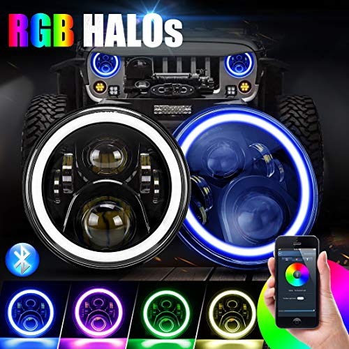 SUPAREE 7 inch LED Headlights RGB Halo Angel Eyes 7