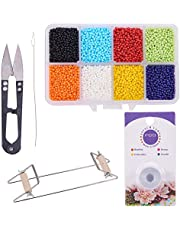 PH PandaHall Bead Loom Kit - About 1600pcs 8 Color 12/0 Glass Seed Beads, Steel Scissors, Knitting Needle, Threads for Necklace Bracelet Jewelry DIY Making