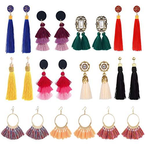 LANTAI 8-54 Pairs Bohemian Colorful Long Fringe Tassel Earrings Set-3 Layer Fan Tassel Hoop Earrings for Women Girls Gift Statement Earrings