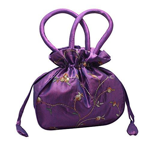 wedding Silk bride's Purple handbag Chinese the Embroidered Bags Hysagtek Handmade PTXq0nPU