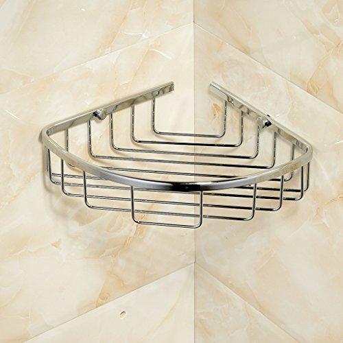 Corner Basket Shelves by MAMOLUX ACC| Solid Brass Shower Basket Shelf Tidy Rack Caddy Storage Organizer Chrome Finish|Space Saving Toiletries/Cosmetics Holder by Marmolux Acc (Image #1)