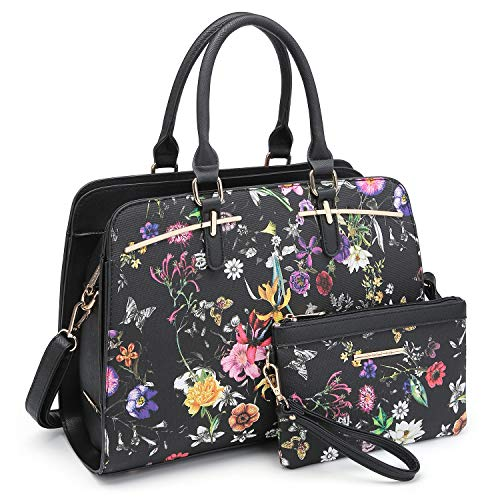 Women Handbags Satchel Purses Top Handle Work Bag Briefcases Tote Bag With Matching Wallet (1-Black Flower)