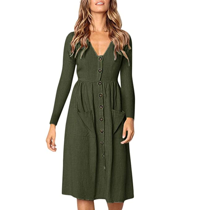 Vestidos Sueltos para Mujer,Moda Largo Mangas V-Cuello Botón Diario Casual Cómodo Largos