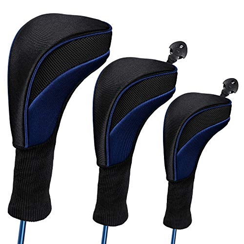 (LONGCHAO Black Golf Head Covers Driver 1 3 4 5 7 X Fairway Woods Headcovers Long Neck Neoprene Protective Covers with Interchangeable No. Tags Fits All Fairway and Driver Clubs(3pcs))