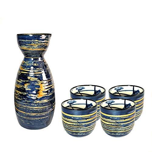 Sake Set Japanese Sake Cup Set Traditional Hand Painted Design Porcelain Pottery Ceramic Cups Crafts Wine Glasses 5 Piece (Blue Wise) Design Hand Painted Porcelain