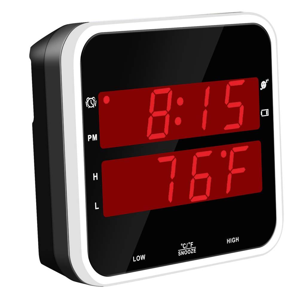 Timegyro Digitalwecker Batterie mit Temperatur f/ür Schlafzimmer Wohnzimmer