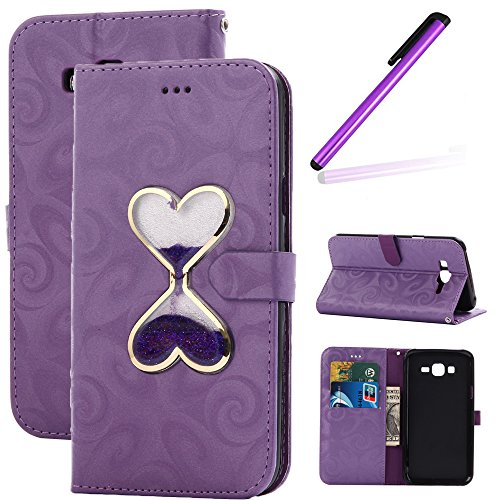 - J7 2015 Case,Samsung Galaxy J7 Case,LEECO 3D Luxury Hourglass Wallet Cover Kickstand Diamond Flip Magnet Leather PU Protective Case for Samsung Galaxy J7 2015 SM-J700,Hourglass Purple