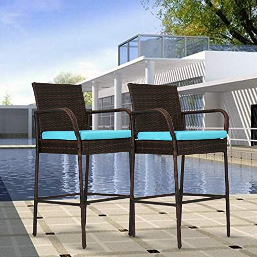 Kinbor Set of 2 Patio Outdoor Wicker Barstool Set Pool Furniture Backyard High Chair with Cushions, Armrest and Footrest