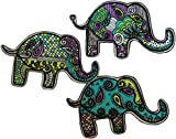 [3 Count Set] Custom and Unique (5.5'' Inch) ''Animals'' Cool Retro Colorful Paisley Print Zen Elephant Shape Design Iron On Embroidered Applique Patch {Teal, Yellow, Black & Green Colored}