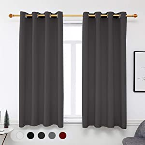Veaken Blackout Curtains, Grommet Thermal Insulated Room Darkening Room Darkening Draperies/Drapes for Home, Set of 2 Panel Window Curtains for Living Room, 52 X 63 Inch Long, Grey