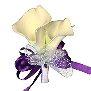 Pin Corsage - White Foam Calla Lily with Pearl - Purple Ribbon 81