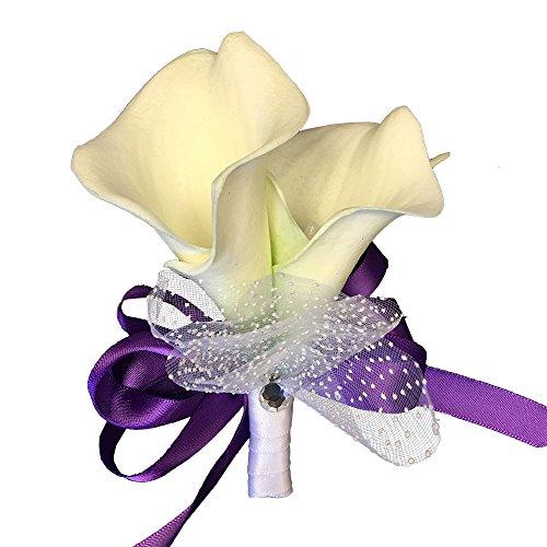 Pin Corsage - White Foam Calla Lily with Pearl - Purple Ribbon ()