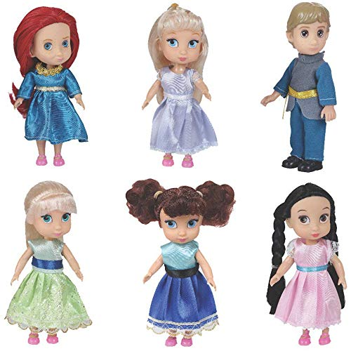 Liberty Imports Fashion Princess Toddler Mini Dolls 6 inches Collection Girls Gift Set (Pack of 6) (Porcelain Dolls Small)