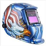 Solar Powered Welding Helmet Auto Darkening Hood with Adjustable Shade Range 4/9-13 for Mig Tig Arc Welder Mask Blue…