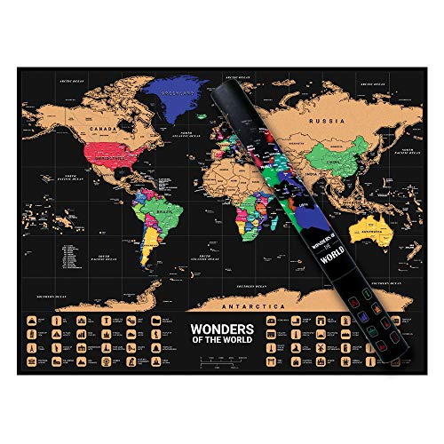 Scratch World Map Traveller's Adventure Black Waterproof Glossy Gold Easy to Scratch Poster Best Personalised Gift (Size 50 x 72cm or 19 x 28 inch)