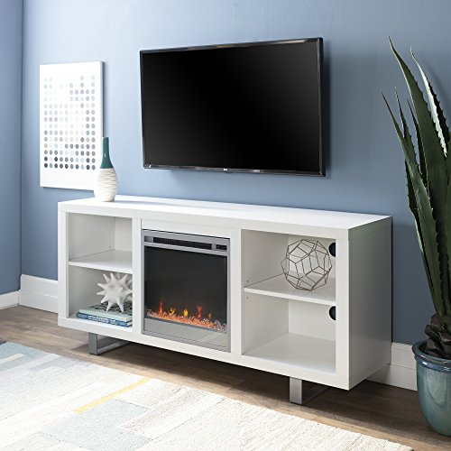 "WE Furniture 58"" Simple Modern Fireplace TV Console, White"