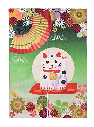 Wise Bird Door Curtain Japanese Noren Fortune Cat Fans Flowers Curtain Bedroom Doorway Door and Window Treatment Curtains Cotton Linen Curtain 85x120cm/33 x 47