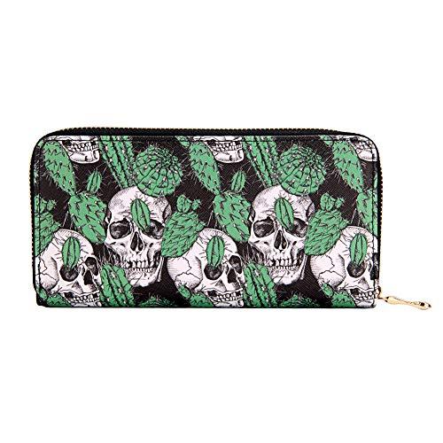 Kukoo Women's Printed Zip Around Wallet Phone Clutch Purse Card Holder Organizer (Skull - C) ()