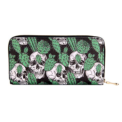 Kukoo Printed Zip Around Clutch Wallet Skull Long Organizer Purse Credit Card Holder ()