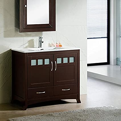Elimaxu0027s Solid Wood 36u0026quot; Bathroom Vanity Cabinet Ceramic Top Sink ...