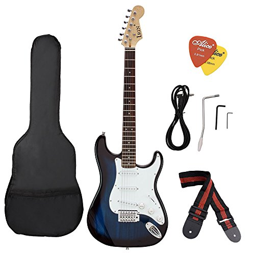 ammoon ST Electric Guitar Basswood Body Rosewood Fingerboard with Gig Bag Picks Strap for Beginner (blue) by ammoon