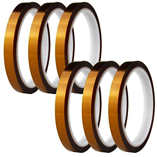 Hxtape High Temperature Kapton Tape,Polyimide Film Tape for Masking,3D Printing,Electric Task,Soldering,2/5 inch (10mm) X 36yds,6 Rolls