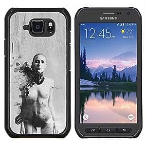 Mujer Arte Calvo Negro Blanco- Metal de aluminio y de plástico duro Caja del teléfono - Negro - Samsung Galaxy S6 active / SM-G890 (NOT S6)
