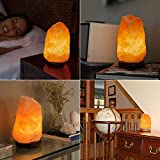 TTP 2 PACK Natural Hand Carved Himalayan Salt Lamp with a Stylish Wood Base & Bulb with On and Off Switch 6-8 Inches 5-7 lbs