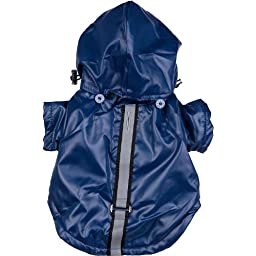 Reflecta-Sport Adjustable Weather-Proof Pet Windbreaker Jacket, Small, Dark Blue