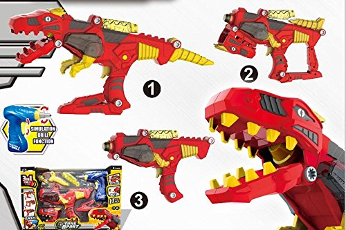 Freebex Kid's 17 pc Lights & Sound Dinobots Super Dino Charge Morpher --Super Transformation set Toys Gun With Electric Drill,kid's Birthday Gift (Power Rangers Dino Super Charge Titano Zord)