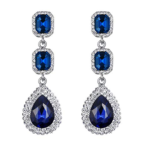 BriLove Women's Fashion Wedding Bridal Crystal Teardrop Multi Layers Beaded Dangle Earrings Navy Blue Sapphire Color Silver-Tone