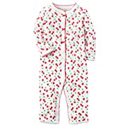 Carter's Baby Girls' Cotton Snap-Up Footless Sleep & Play (3 Months, Cherries)