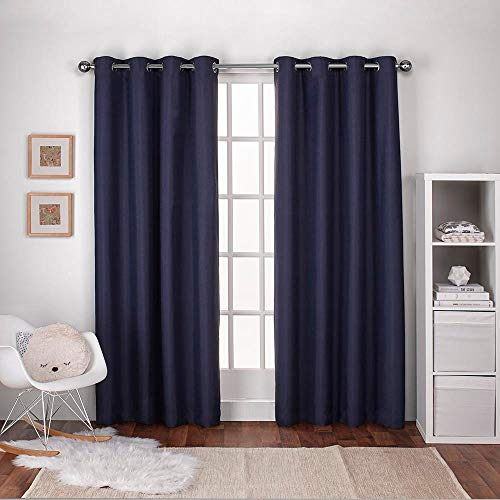 (Exclusive Home Curtains Textured Linen Thermal Window Curtain Panel Pair with Grommet Top, 54x84, Navy Blue, 2 Piece)