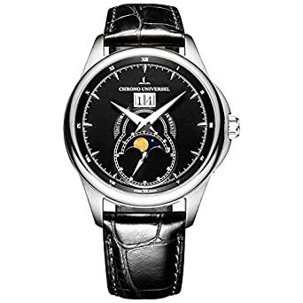 Automatikuhr Design - Phase De Lune - Großdatum - Armband Leder - Saphirglas - Hohe QualitÄt