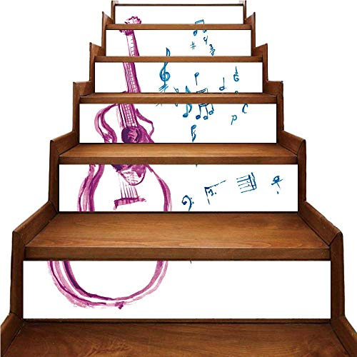 - Guitar Nice Stairs Sticker,Watercolor Musical Instrument with Notes Sheet Elements Brush Stroke Effect Decorative for Home,39.3